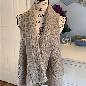 Loft Cable Knit Cardigan Waterfall Sweater Vest